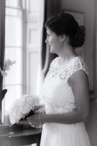 bride look out of window at the royal bath hotel