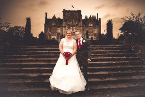 bride and groom at tortworth court