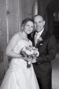 bride and groom at wedding at woodchester mansion