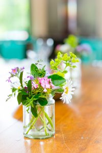 flowers on table at wedding photography