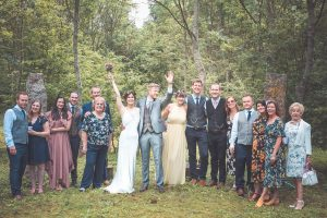 wedding in woods family shot