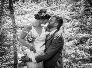 black and white wedding couple