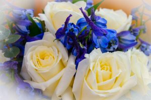 wedding flowers in blue
