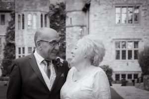 bride and groom at stonehouse court wedding