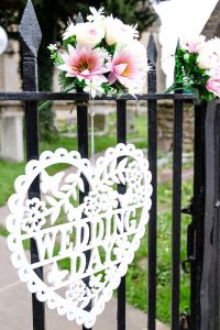 wedding day on gate heart