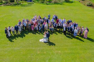 wedding group shot from above