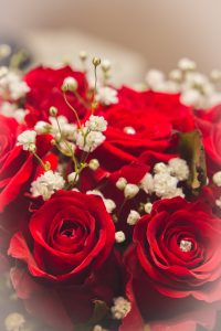 Red roses wedding flowers