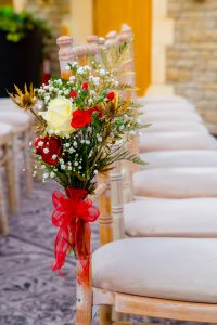 Winter flowers at tortworth court wedding