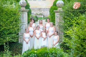 bride and bridesmaids on steps bronze award